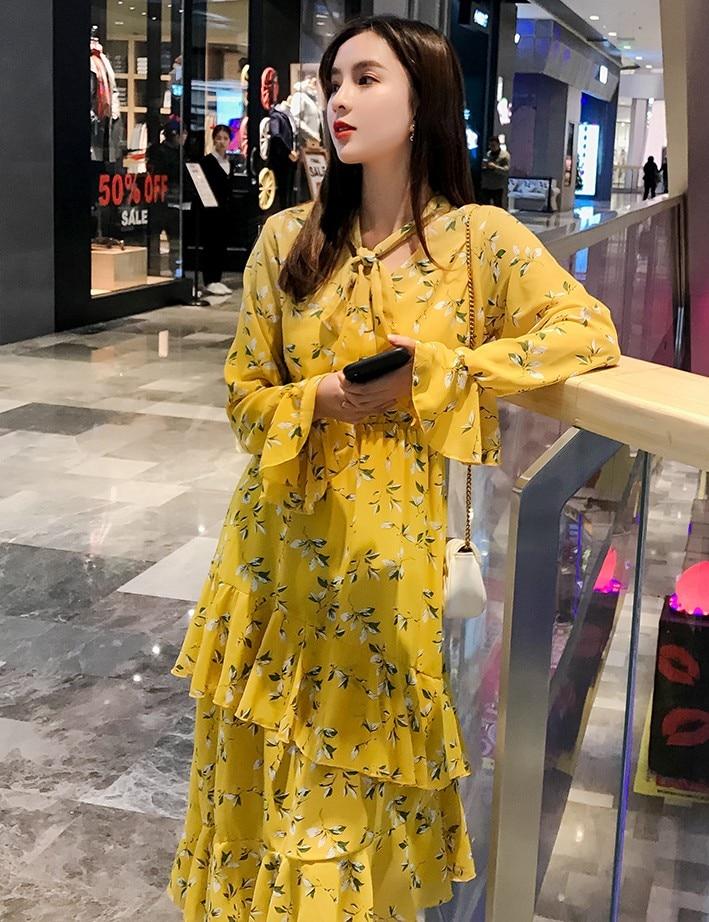 2019 NEW arrival women s fashion summer printing chiffon dresses girls casual holiday beach ruffle flare