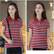 ZYFPGS 2019 Summer Casual Women Polos Striped Slim Breathable Short Sleeve T Mujer Femme Plus Size 5XL 6XL L0521