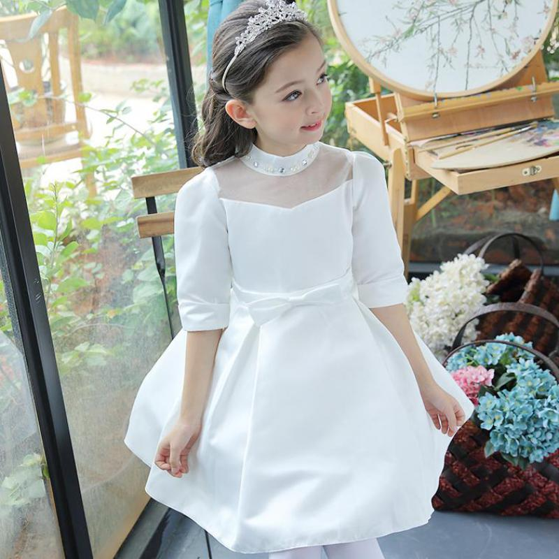 2017 Big Girls Clothes Princess Birthday Party Dress High Quality European Style Autumn White Color Dress Vestido Infantil 13 14 uoipae party dress girls 2018 autumn