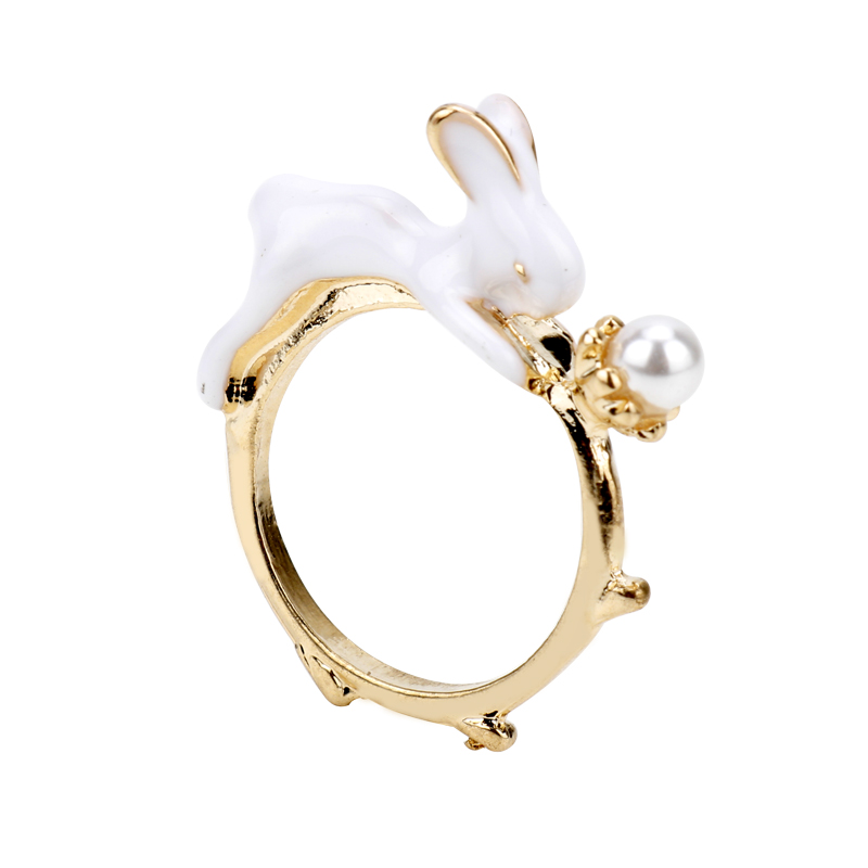 dongsheng Fashion Cute Animal Rabbit White Enamel Bunny Ring Vintage Ceramic Ring For