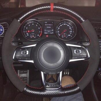 Carbon Faser Leder Schwarz Wildleder Blau Marker Auto Lenkrad Abdeckung für Volkswagen Golf 7 GTI Golf R MK7 VW polo GTI