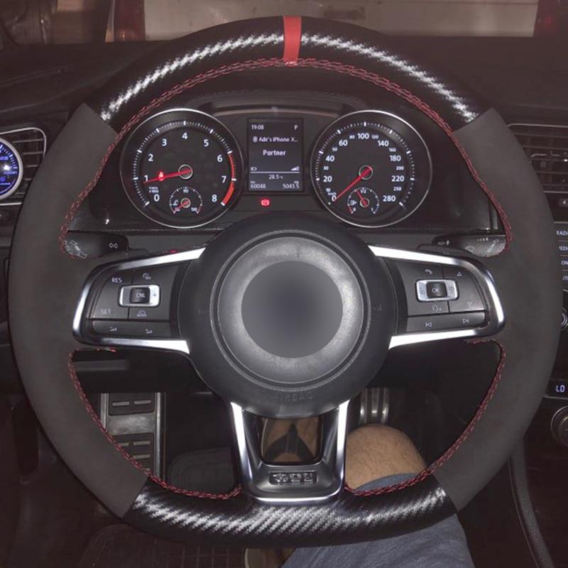 Carbon Fiber Leather Black Suede Blue Marker Car Steering Wheel Cover For Volkswagen Golf 7 GTI Golf R MK7 VW Polo GTI