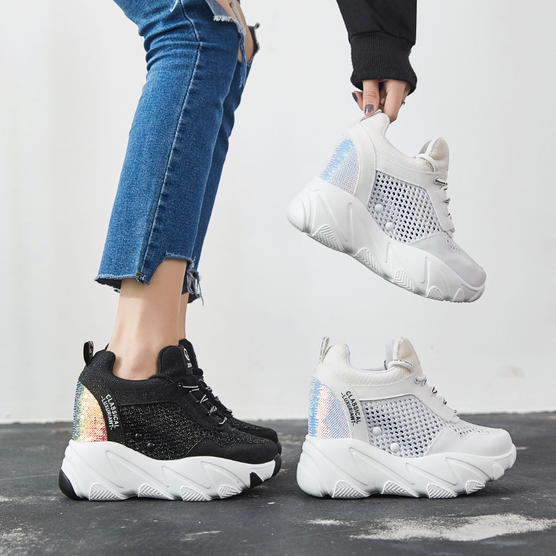 SWYIVY Breathable Summer Shoes Sneakers Woman Black white Platform Sneakers For Woman Autumn Casual Shoes 2019