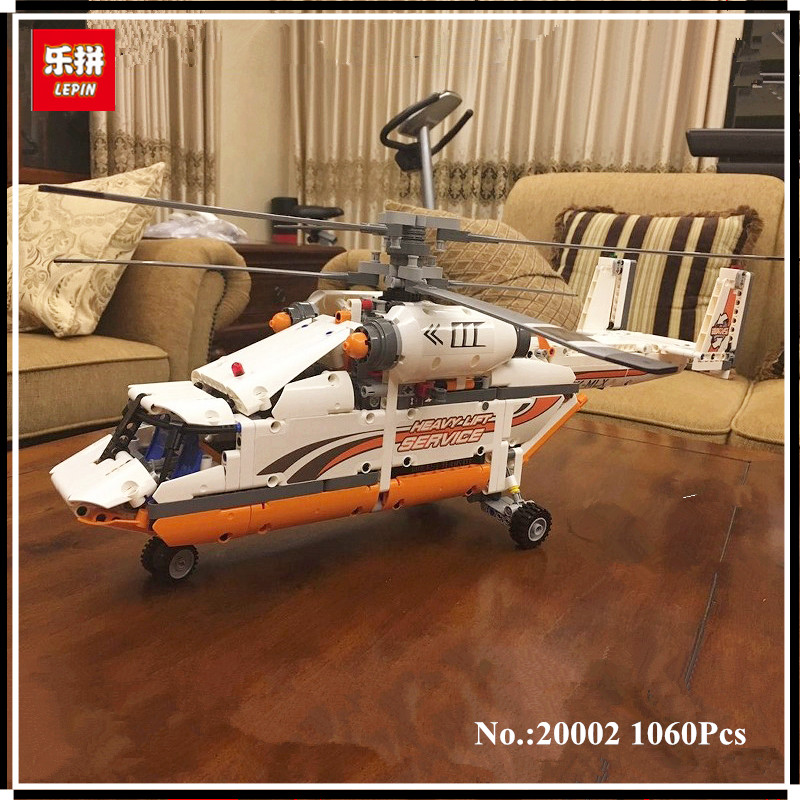 IN STOCK LEPIN 20002 technic series 1060pcs Double rotor transport helicopter Model Building blocks Bricks Compatible 42052 Toys lepin 02004 356pcs city series volcanic expedition transport helicopter model building blocks bricks toys for children gift