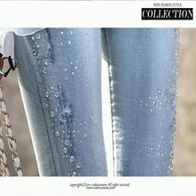 NFIVE Brand 2017 New Summer Women Cotton Hot Sale Light Blue Middle Waist  Drilling Hole Trouser Fashion Tide Brief Pencil Pants