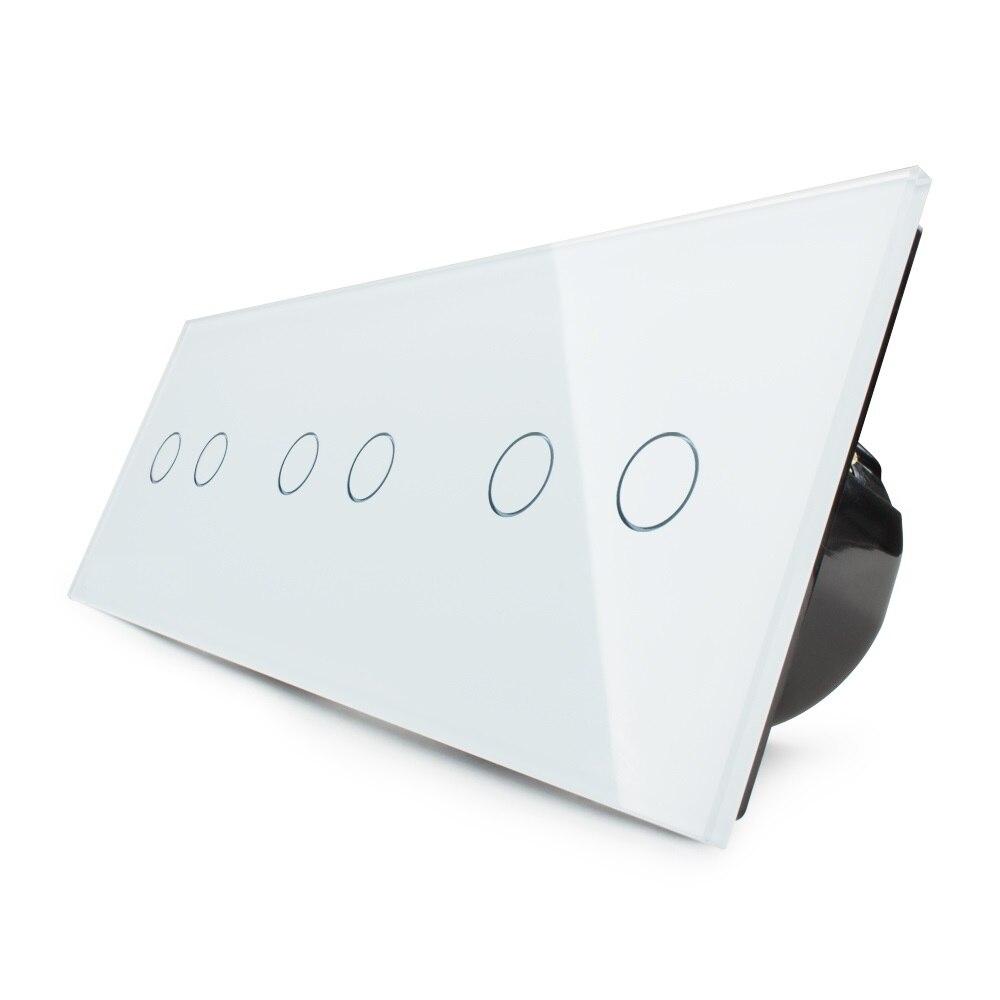 Norme européenne Livolo, interrupteur tactile, interrupteur tactile Triple mural de luxe à combinaison gratuite, avec panneau en verre cristal blanc