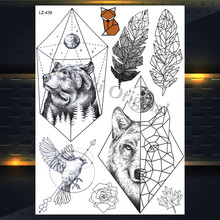 New Dreamcatcher Wolf Totem Temporary Tattoo Stickers For Women Body Art Fake Flash Tattoo Dream Catcher Wings Tatoo Men Arm Leg