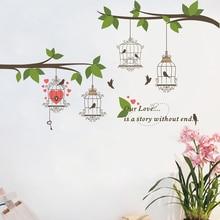 Large Birds Birdcage Tree Branch Flower Floral Wall Sticker Decals Home Decor TV Background Living Room Bedroom Mural Poster