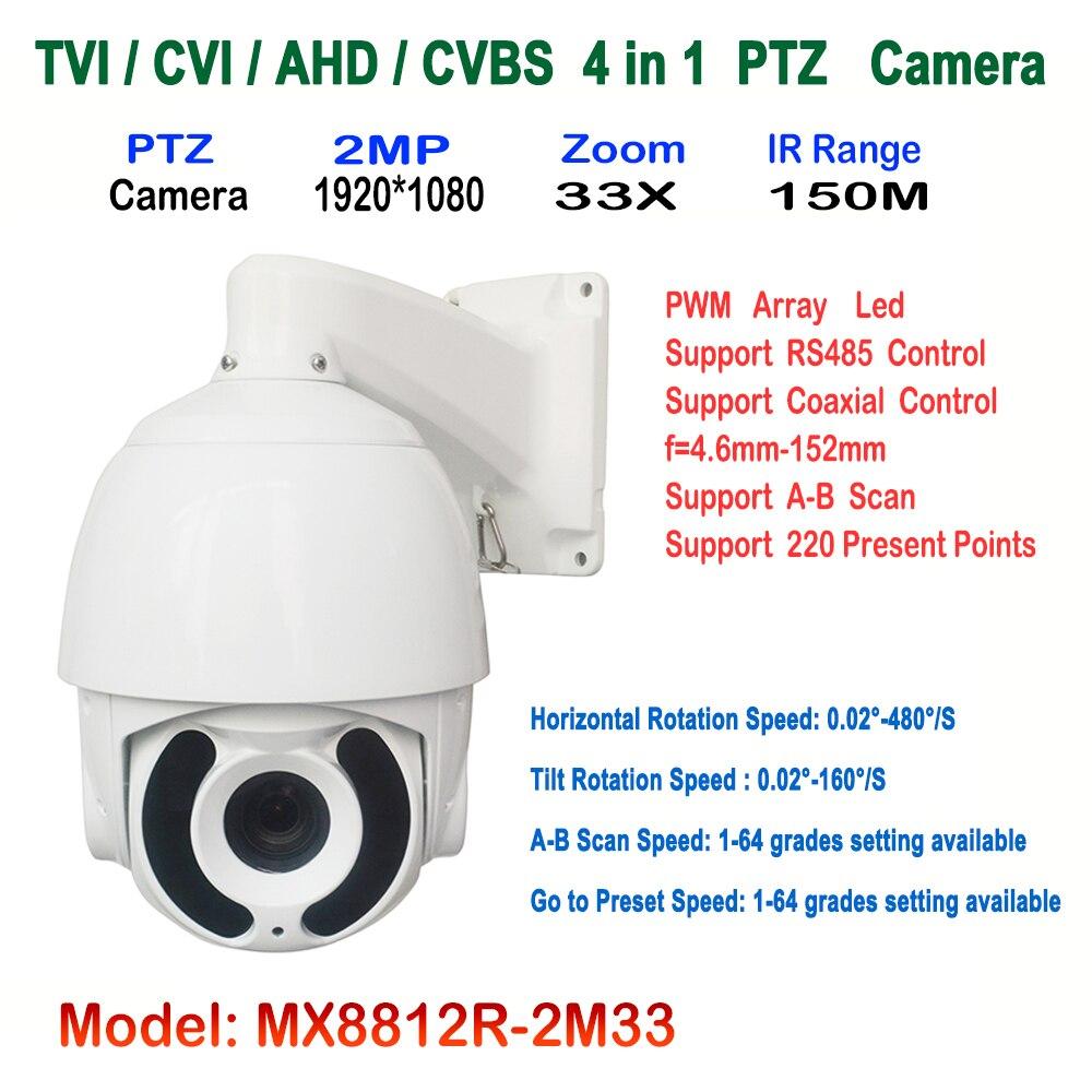1080P 2.0MP Dome AHD CVI TVI CVBS PTZ CCTV Camera 5.1~51mm Auto-focus 10x Zoom