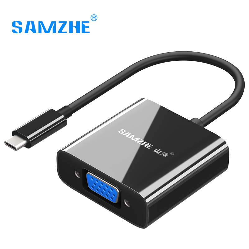 SAMZHE USB Type C VGA Adapter Type-C to VGA Converter USB 3.1 for Macbook Chromebook Dell Lumia SAMSUNG S8 Thunderbolt 3 1080P