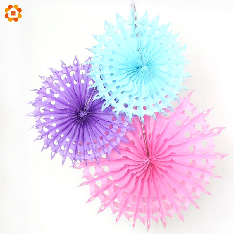 New 5pcs Tissue Paper Fan Diy Crafts Hanging Wedding: 5PCS/Lot 12''(30CM)Hollow Tissue Hanging Paper Fans For