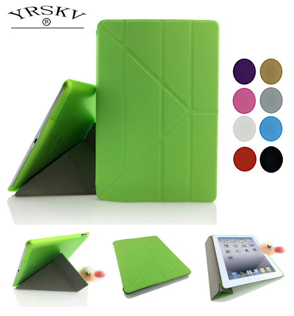 Case for iPad 2 iPad 3 iPad 4 YRSKV Deformation folding PU Leather Slim Magnetic Front Smart Cover Skin+Hard PC Back Tablet Case