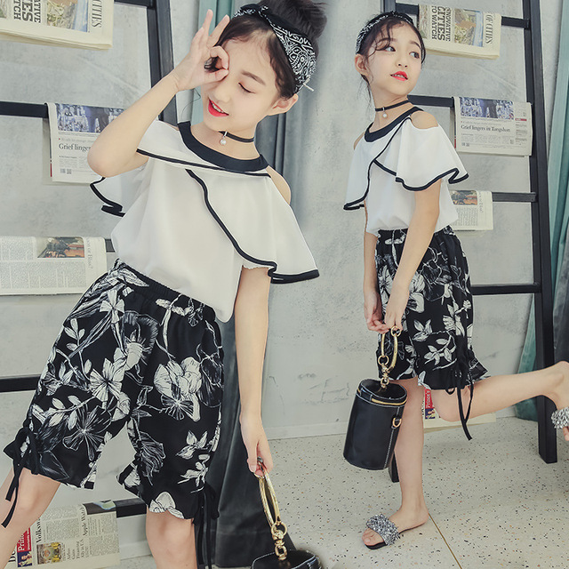 f628edf63be8 ... Teenage Girls Clothing Sets Summer 2018 White Off Shoulder Blouse
