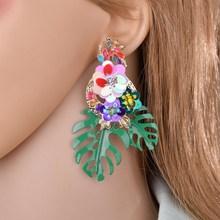 купить Bohemian Yellow Leaf Drop Earrings Women Round Opal Sequins Statement Tropical Plant Dangle Earring Jewelry Bijoux Lover Gifts дешево