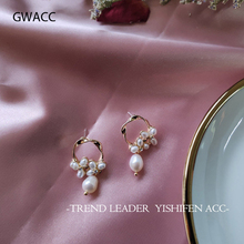 GWACC 2019 Korea Design Natural Freshwater Pearls Flower Stud Earrings For Women Girls Baroque Irregular Circle Chic Jewelry