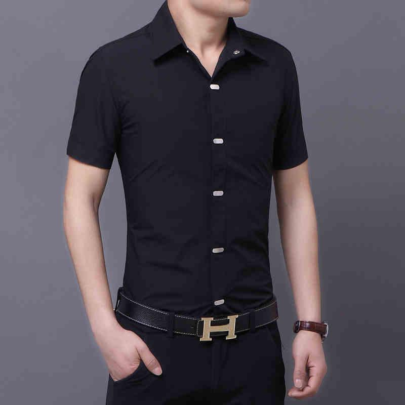 New Casual Men Shirt Short Sleeve Elastic Slim Fit Black Shirt Men ...