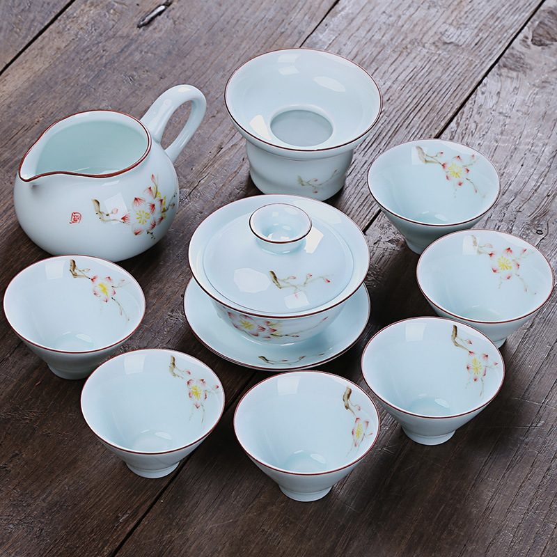 Hand-painted kung fu tea set gift custom household cup teapot wholesale 10 pcs of blue and white dehua ceramic tea setHand-painted kung fu tea set gift custom household cup teapot wholesale 10 pcs of blue and white dehua ceramic tea set