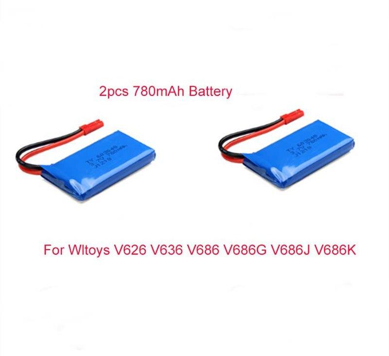 3.7 В 780 мАч lipo Батарея + Зарядное устройство для WLtoys v626 v636 v686 v686g v686j v686k 2.4GH 4ch 6- оси БПЛА FPV-системы Мультикоптер Дрон