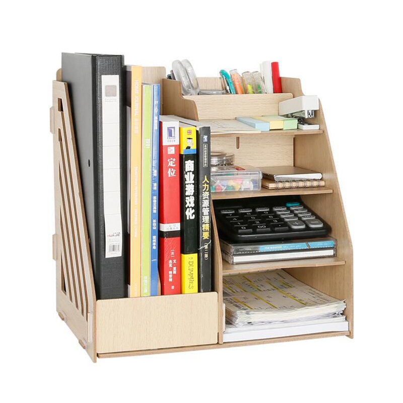 1 set diy natural color wood document trays desk accessories organizer magazine container school office supplies desk set files - Desk Organizer Tray