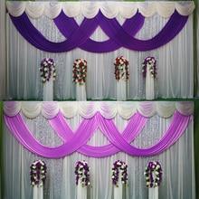 3*6m (10 * 20ft) pano de fundo colorido cortina de palco da igreja com lantejoulas cenários com swags seda gelo decoração de palco de festa de casamento