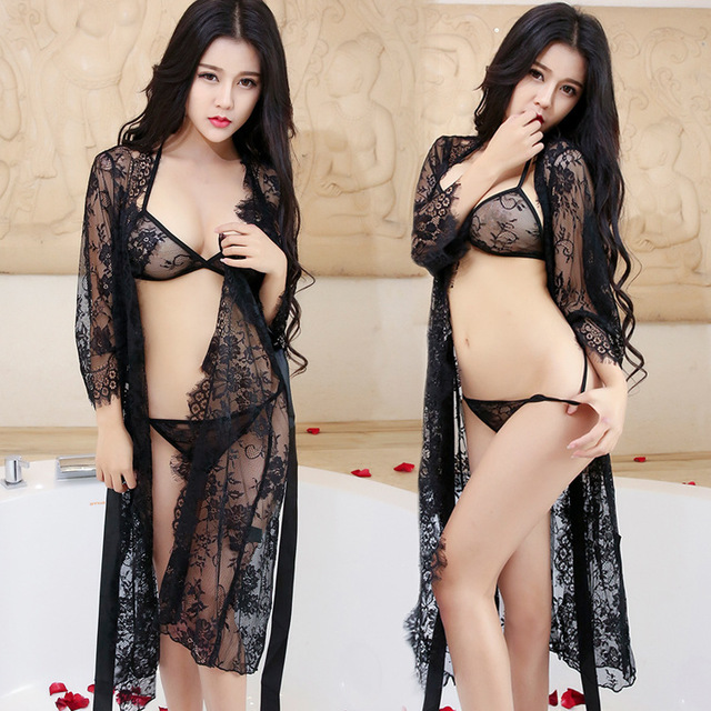 290d17efc7a US $7.59 49% OFF|Sexy Lingerie Women Clothes Sexy Ladies Dress Elegant  Cardigan Slim Full Lace Pajamas Suit Extreme Temptation Perspective-in ...