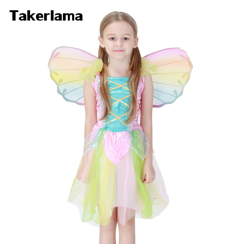 Bee Costumes with Wings Rainbow Dress Girls Halloween Stage Performance Dress Animal Party Cosplay Carnival Clothes