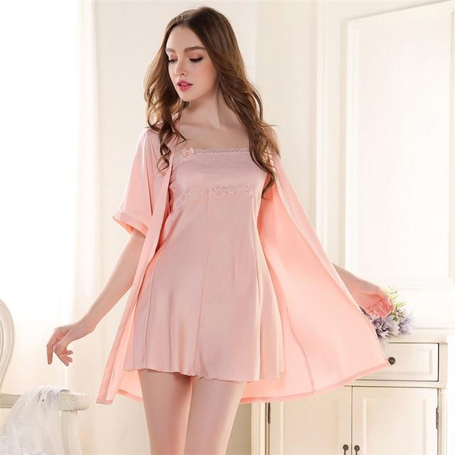 Women Faux Silk Sleepwear Nightgown Robe Sexy 2016 Sexy Robes For Women Night Gown Robe Set Ladies Nighties Sleepwear And Robes