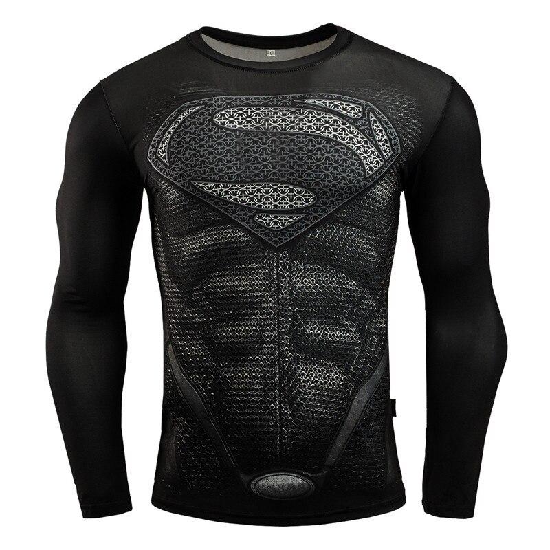 Rashgard Superman Sport Shirt Men 3D Print Quick-drying Running T-Shirts Compression Shirt Sport Fitness Tops Gym Tshirt