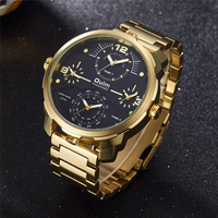 Oulm Gold Black Luxury Brand Watches Big Size Four Time Zone Quartz Clock Male Stainless Steel Large Men's Military Wristwatch