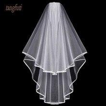 Простая двухслойная свадебная вуаль белого цвета и цвета слоновой кости, расческа по краю ленты, дешевые свадебные аксессуары, короткая фата для невесты