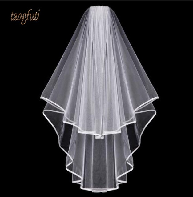 Simple Tulle White Ivory Two Layers Wedding Veils Ribbon Edge Comb Cheap Accessories Short Bridal