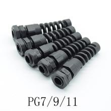5 шт. IP68 Водонепроницаемый M12 PG7/PG9/PG11 кабельный сальник пластиковый гибкий спиральный предохранитель для 3,5-6 мм проволочная нить