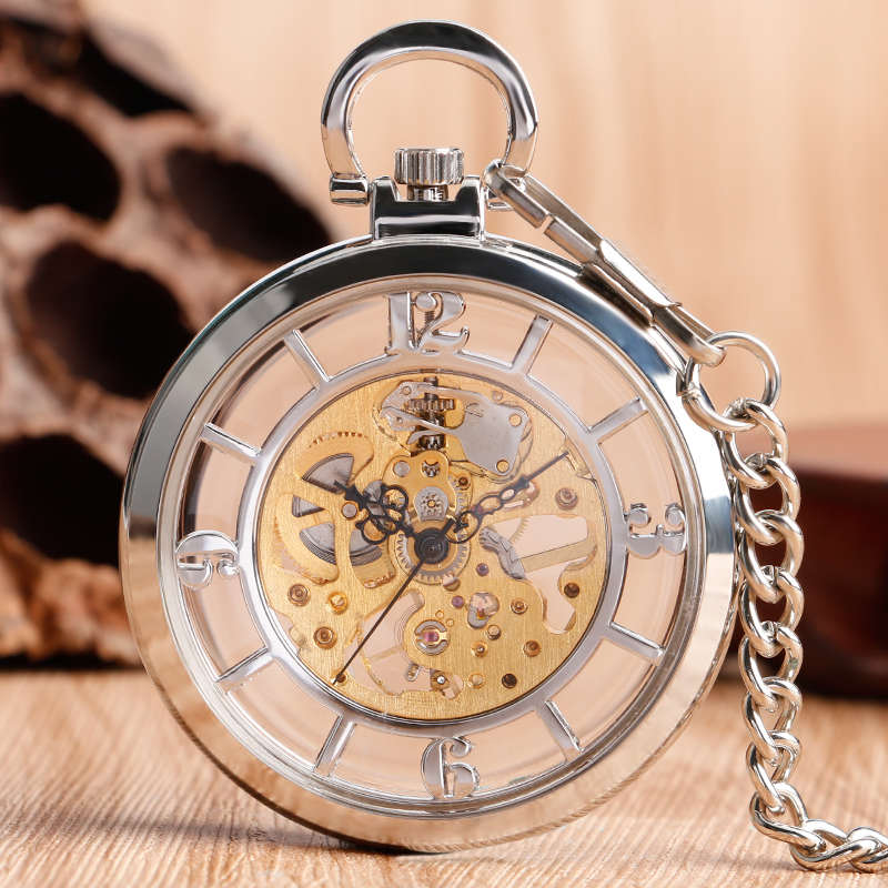 Transparent Hollow Mechanical Pocket Watch Men Women Open Face Vintage Steampunk Hand Wind Fashion Windup Pendant Birthday Gift vintage transparent skeleton open face mechanical pocket watch men women fashion silver hand wind watch chain pendant gift