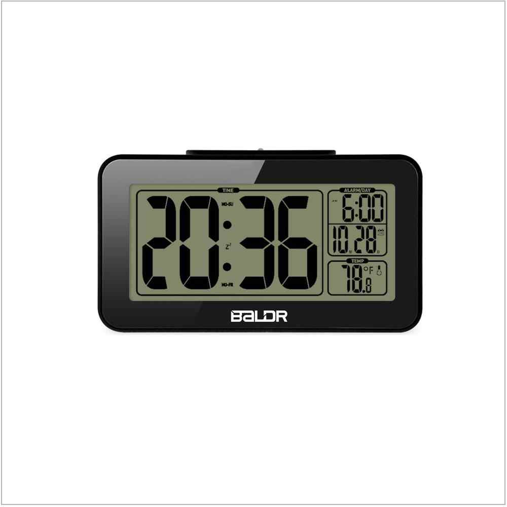 Baldr منبه رقمي ساعة غفوة الإلكترونية طالب ساعة شاشة عرض LCD كبيرة الحجم الاطفال ضوء استشعار شمعة طاولة مكتبية ساعة