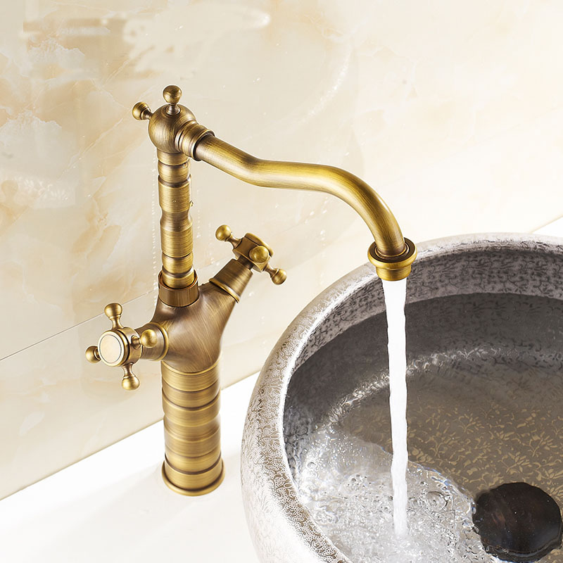 Antique copper brass rotated sink basin faucet mixer water tap, Retro short or long bathroom wash basin faucet hot and cold swan shape antique bathroom brass basin faucet hot and cold copper retro sink basin faucet mixer water tap golden free shipping