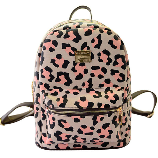 Backpack female leopard backpack backpack bag leisure students in Europe  and America Pink leopard sweet