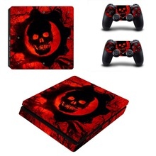 Red Skull Vinyl Decal Full Body Cover Skins PS4 Slim Skin Sticker for Sony Playstation 4 Slim Console and Controller Stickers