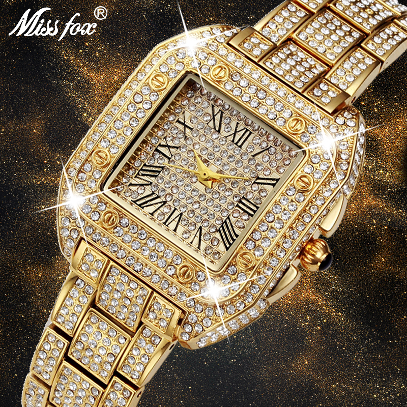 MISSFOX Unique Womens Watches Top Brand Luxury 2017 With Rhinestone Cheap China Watches Switzerland Shockproof Waterproof Watch
