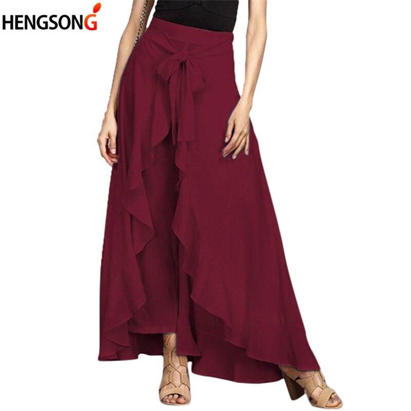 2018 New Women   Wide     Leg     Pants   Chiffon Tie-Waist Ruffle   Pants   Solid Color Long Chiffon Trousers Ruffled Hem   Pants   For Ladies
