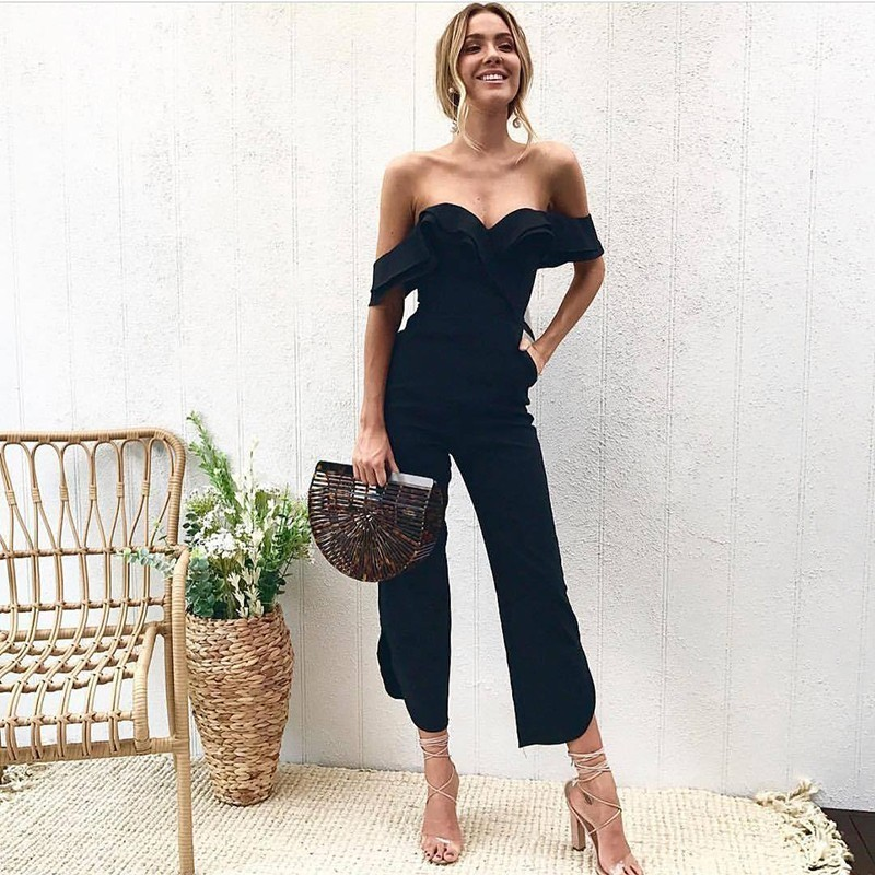 Summer New Strapless Sexy Jumpsuits For Women 2018 Fashion Folds Backless Elegant Rompers Womens Jumpsuit Lady Party Overalls