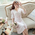 Yomrzl A368 Новое прибытие весной и летом женская ночная рубашка one piece сладкий пижамы королевский половина рукава кружевном платье сон