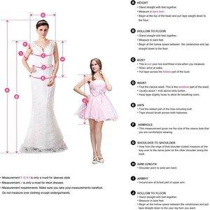Image 5 - קיץ שמלות כלה 2020 עמוק V מחשוף חרוזים גבוה פיצול ללא משענת קו טול שרוולים Boho כלה שמלות Vestido Noiva
