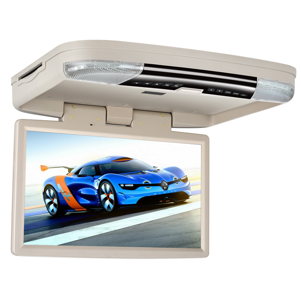 "15.6"" HD Screen Car Roof Flip Down Monitor USB DVD Player with HDMI Port/FM/Game /Disc/LED Light/SD/USB"