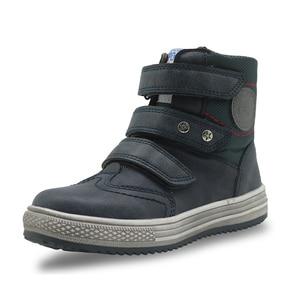 Image 2 - Apakowa/осенне зимние ботинки; Детская обувь из искусственной кожи; Однотонные ботильоны на плоской подошве для мальчиков; Модная детская обувь с поддержкой арки