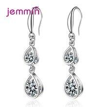 Korean Style New 925 Sterling Silver Cubic Zircon Drop Earrings 2019 Long Dangle Drop Earrings For Women Pendientes Brincos