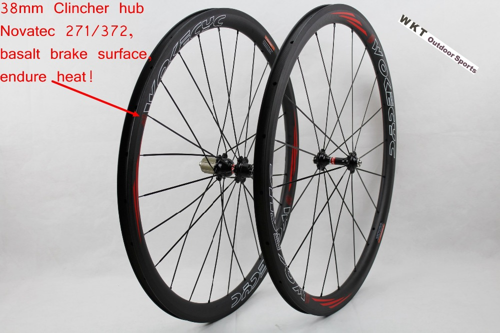 Cheap Price 38mm Clincher Carbon Road Wheels Bike Bicycles ...