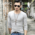 2017 men t shirts pure color long sleeve cultivate one's morality men T-shirt collar T-shirts man render unlined upper garment