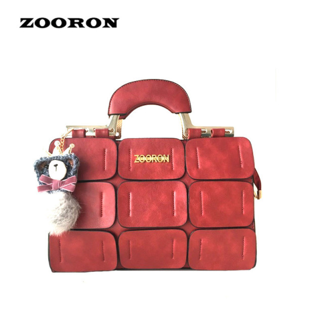 ZOORON new spring/summer 2017 women bag suture Boston bag inclined shoulder bag women leather handbags