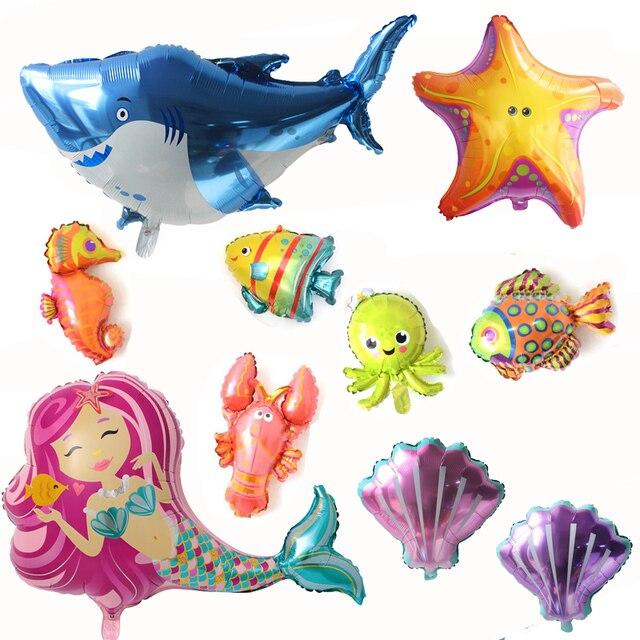 1 pcs Oceano Tubarão Balões da Festa de Aniversário Fontes Do Partido Da Sereia Do Mar Animais Hélio Balão Sob o Mar Globos Do Chuveiro de Bebê decoração