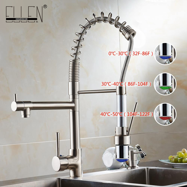 kitchen water faucet low cost remodel advanced all bronze tap pull out led light mixer with two spray brushed nickel not cheap junk el9023